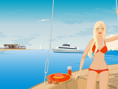 She travels on a yacht. Summer holidays in the resort. Blonde in bikini. Illustration