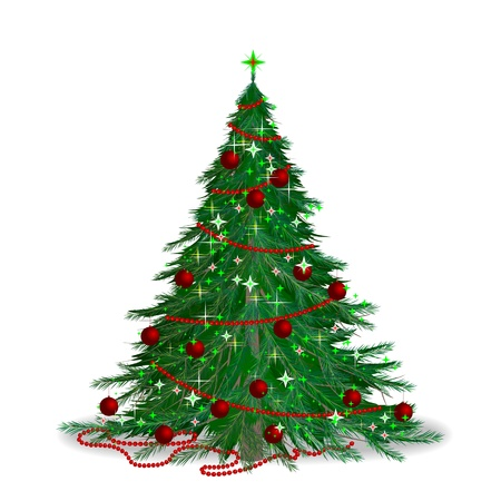 The traditional Christmas tree. The new years fir. Illustration
