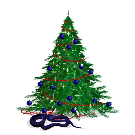 Symbol of new year and Christmas tree. The serpent and the festive fir-tree. Vector