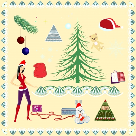 Christmas set. Holiday decorations for the design. Vector