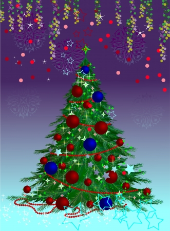 Christmas tree at the background. Colorful postcards from the tree. Elegant Christmas tree.