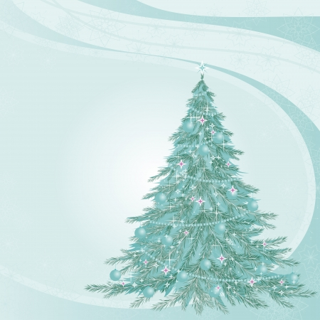 Fir-tree on a blue background. Christmas tree covered with frost. Von with fir-tree. Illustration