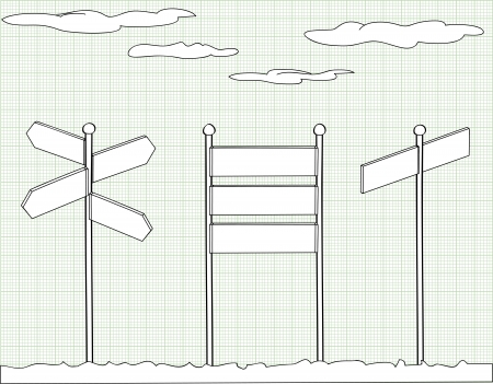 sign wood sky cartoon outline