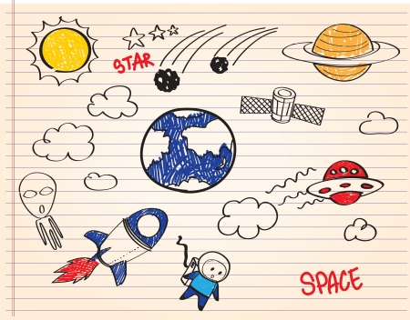 space station: spacecraft kid cartoon outline