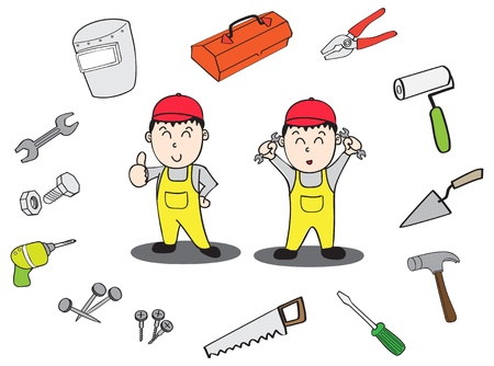 tool boxes: Technician tool cartoon outline Illustration