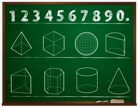 blackboard cartoon: Geometry on the blackboard cartoon