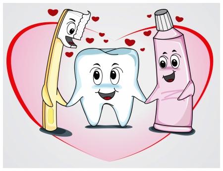 toothbrush: Family teeth cartoon Illustration
