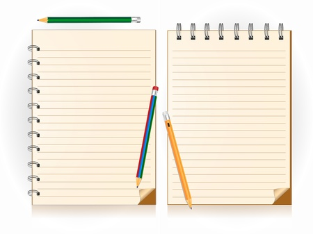 notebook and pencil Vector illustration
