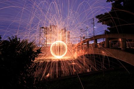 steel wool: Steel Wool Fire Stock Photo