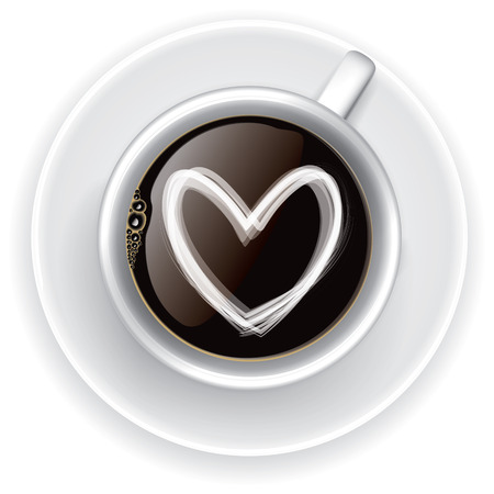 Coffee cup Love, Top view on white background Stock Photo
