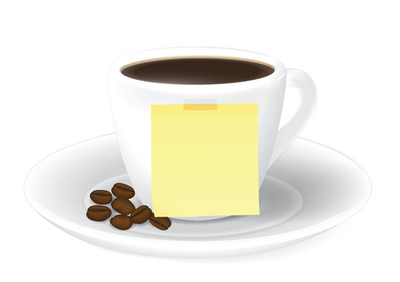 cup of coffee and Sticky notes on white background Illustration