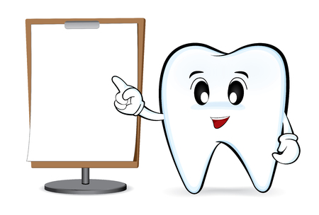 Cartoon characters tooth with blank whiteboard Illustration