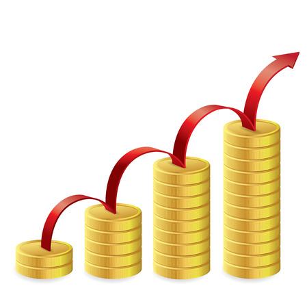 Gold coins graph with red arrow, Business concept, Illustration.