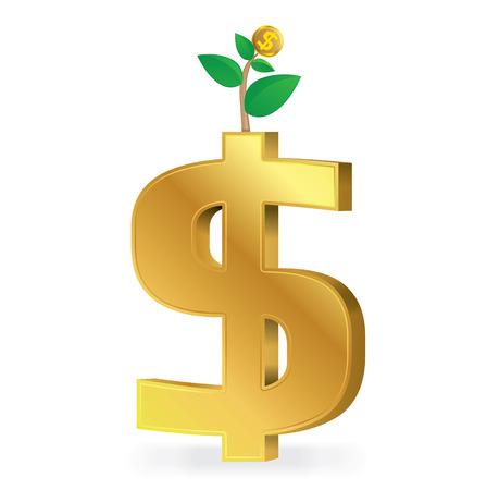 signos de pesos: signo de dólar de oro con monedas de oro árbol, concepto de negocio, ilustración. Vectores