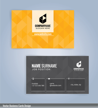 yellow card: Yellow and Gray modern business card template, Illustration Illustration