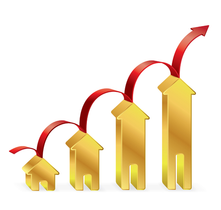 gold house: Gold House graph with red arrow, Business concept, Illustration