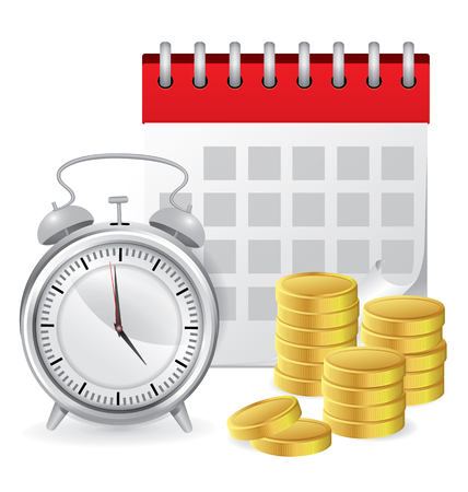 Calendar with clock and gold coins, business concept