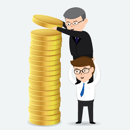 Two businessmen are arranged gold coins, business concept