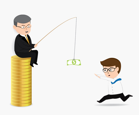 exploitation: Businessman follow toward a bait of money, business concept