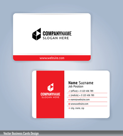 White and red modern business card template, Illustration