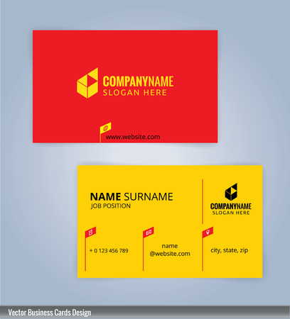 yellow card: Yellow and red modern business card template, Illustration Illustration
