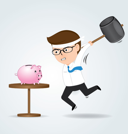 necessity: Businessman holding hammer hitting piggy bank, business concept Illustration