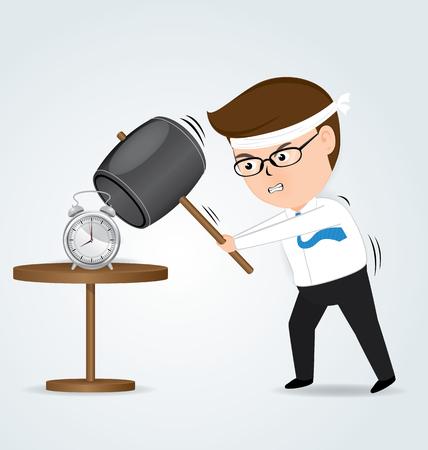 big break: Businessman holding hammer hitting alarm clock, business concept Illustration