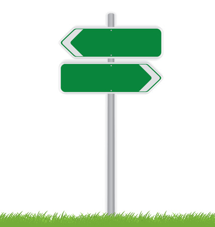 signal pole: Blank traffic road sign on white Illustration