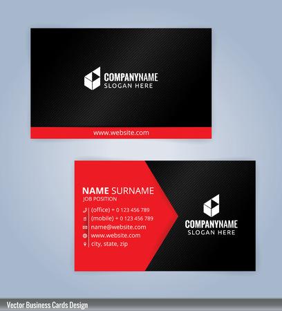 Black and red modern business card template, Illustration Vektorové ilustrace
