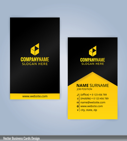 Black and Yellow modern business card template, Illustration