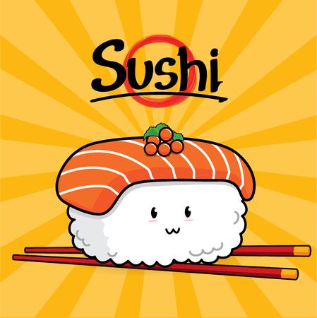 Sake Nigiri Sushi cartoon