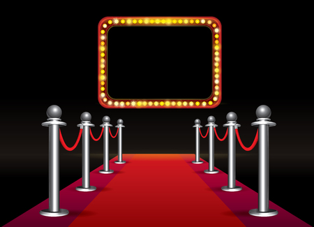 Magic red carpet loop with signboard with light bulbs on black background