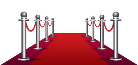 red carpet background: Magic red carpet loop on white background