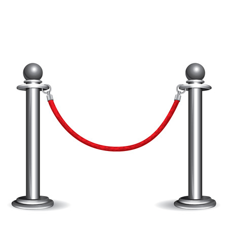 Barrier rope on white background, Vector 10