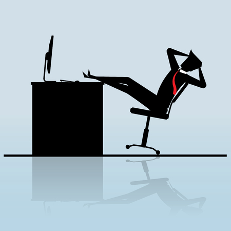 Businessman put his feet up on the table, Business Concept, vector