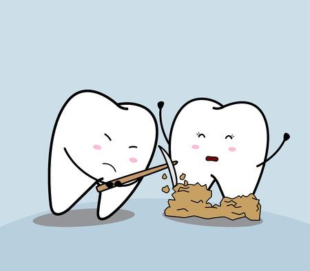 cute cartoon sad tooth and bacteial plaque