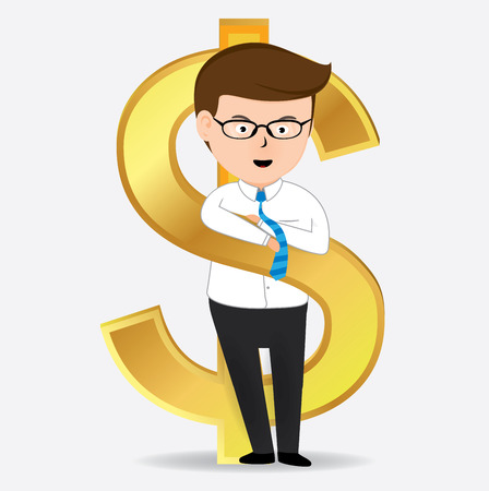 Businessman with Gold Dollar Sign, Business Concept