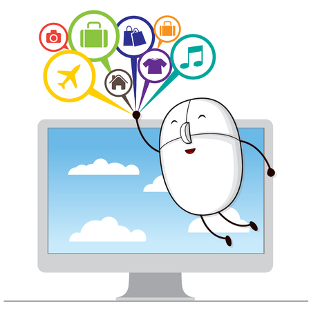 Comment Bubble with Mouse, Shopping Online, e-commerce