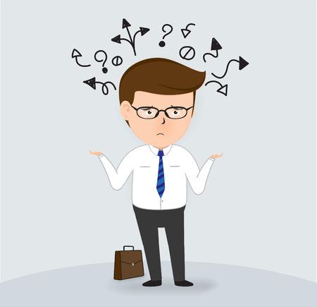 businessman confused, Business Concept, vector Illustration