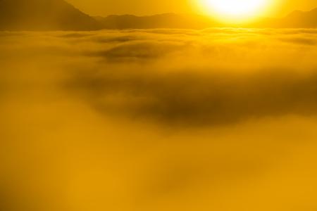 Sunrise mountain with mist, Phu Thok, Loei, Thailand