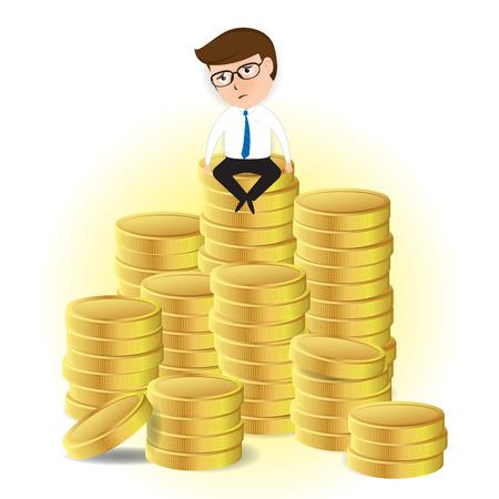 sad businessman: sad businessman sitting on pile of gold, Business Concept, vector Illustration