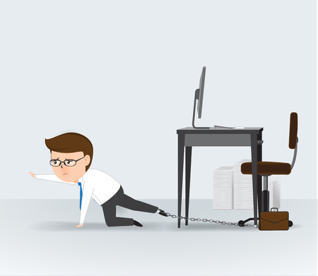 Businessman chained to the office desk, Business Concept, vector