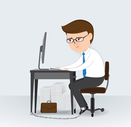 handcuffs female: Businessman chained to the office desk, Business Concept, vector