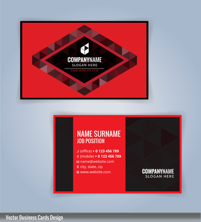 modern business: Black and Red modern business card template, Illustration Vector 10