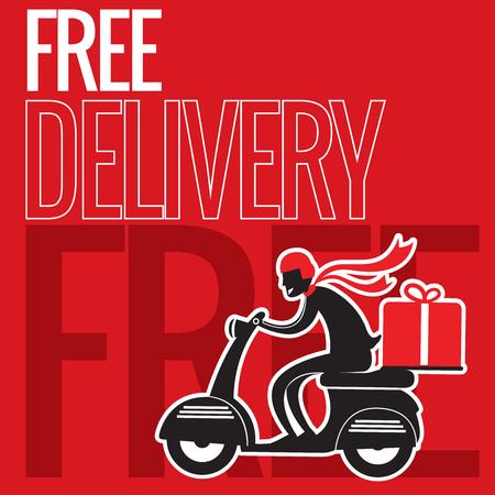 Livraison gratuite Boy Ride Motorcycle Service, concept de livraison créative