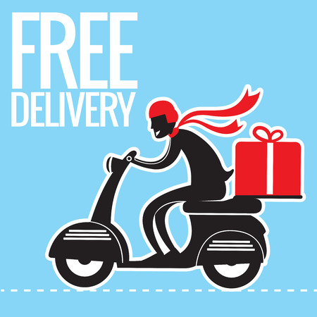 Free delivery Boy Ride Motorcycle Service, creative delivery concept