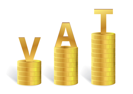 Word VAT on Gold Coin Isolated, Vector illustration Illustration