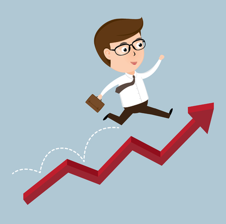 Happy Businessman jumping over growing chart, vector illustration