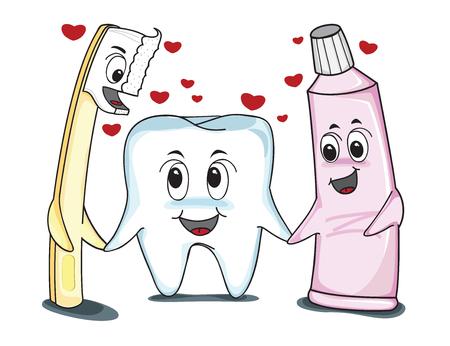 toiletries: Teeth love best friends, tooth past, tooth brush, vector illustration Illustration