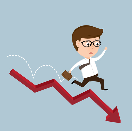 equidad: Businessman jump off falling down chart, vector illustration Vectores